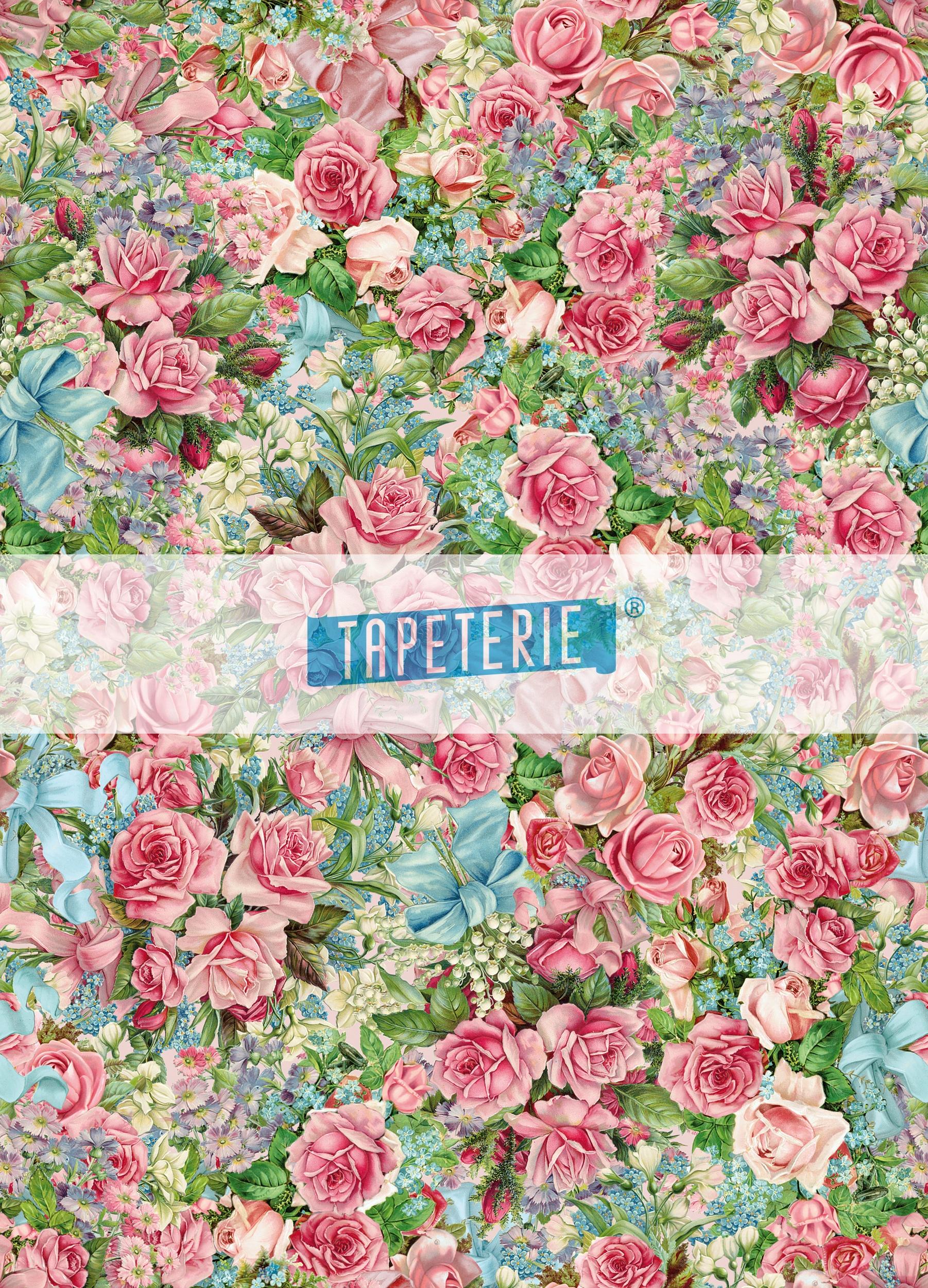 Designer Tapete Rosenmuster rosa mit blau | Tapeterie