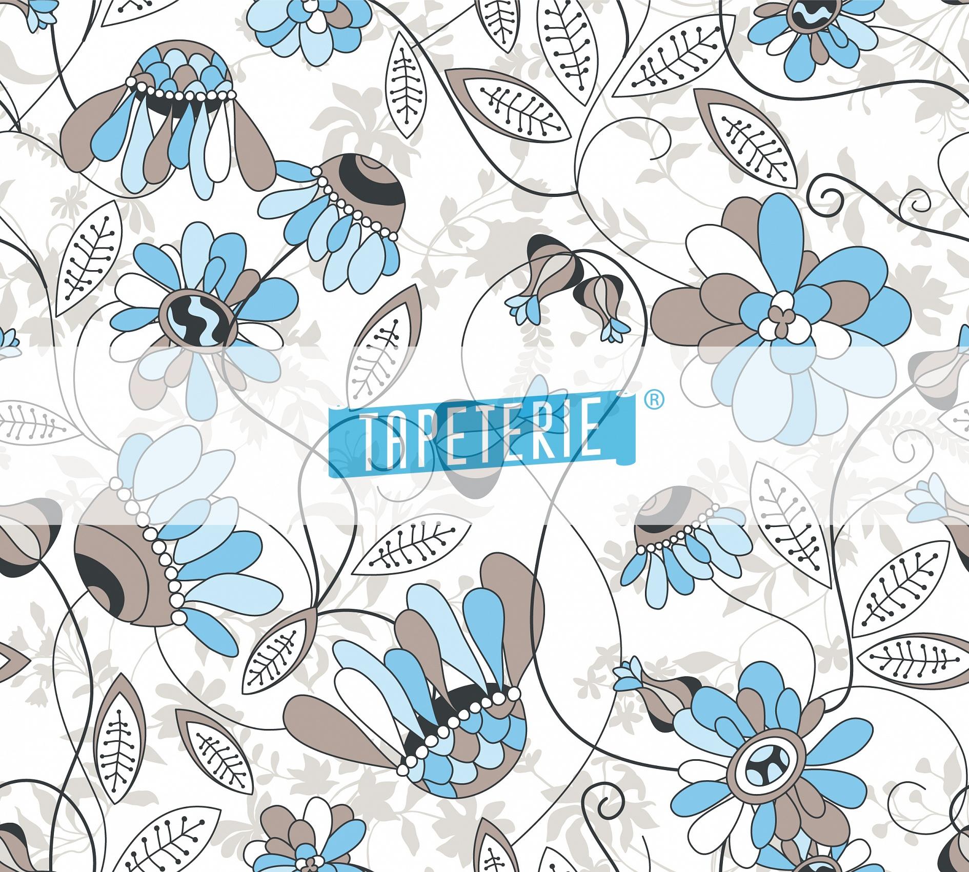 Mustertapete blumenh te in blau und grau tapeterie for Mustertapete blau