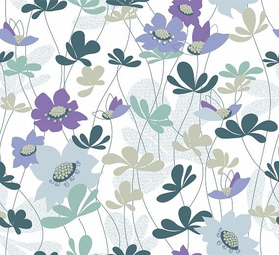 Mustertapete Blumen Anemonen In Blautönen Tapeterie