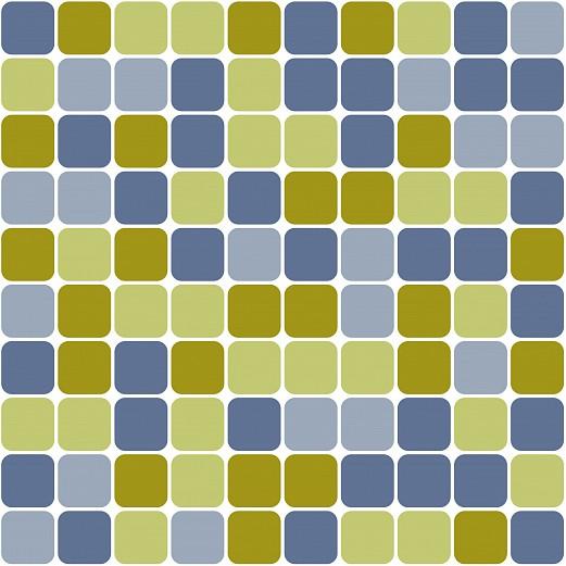 Mustertapete kacheln in blau und gr nt nen tapeterie for Mustertapete blau
