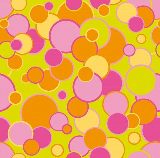 mustertapete seifenblasen in pink orange und grün  tapeterie