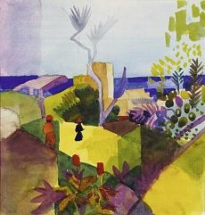 Kunst Tapete aus dem Expressionismus - August Macke, Landschaft am Meer