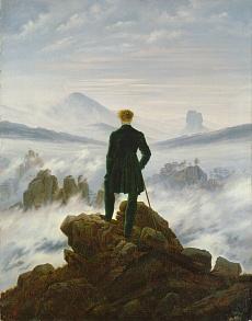 Kunst Tapete aus der Romantik - Caspar David Friedrich, Der Wanderer über dem Nebelmeer