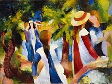 Kunst Tapete aus dem Expressionismus - August Macke, Mädchen unter Bäumen