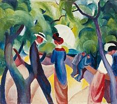 Kunst Tapete aus dem Expressionismus - August Macke, Promenade
