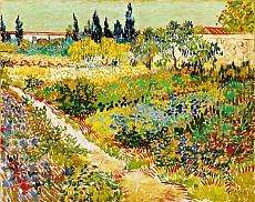 Blühender Garten mit Pfad. 1888