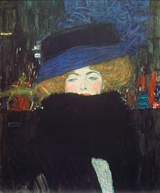 Kunst Tapete aus dem Jugendstil - Gustav Klimt, Bildnis einer Frau mit Hut und Federboa