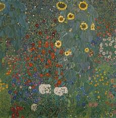 Kunst Tapete aus dem Jugendstil - Gustav Klimt, Bauerngarten mit Sonnenblumen