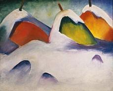 Kunst Tapete aus dem Expressionismus - Franz Marc, Heuhocken im Schnee