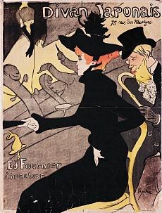 Kunst Tapete aus dem Jugendstil - Henri de Toulouse-Lautrec, Plakat Divan Japonais, 75 Rue des Martyres
