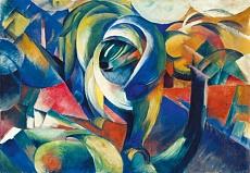 Kunst Tapete aus dem Expressionismus - Franz Marc, Der Mandrill