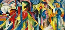 Kunst Tapete aus dem Expressionismus - Franz Marc, Stallungen