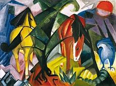 Kunst Tapete aus dem Expressionismus - Franz Marc, Pferde und Adler