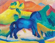 Kunst Tapete aus dem Expressionismus - Franz Marc, Blaues Pferdchen, Kinderbild