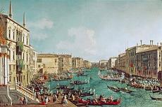 Kunst Tapete aus der Romantik - Canaletto, Regatta auf dem Canale Grande vor dem Palais Ca'Foscari