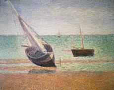Boote bei Ebbe am Strand von Grandcamp. 1885