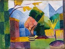 Kunst Tapete aus dem Expressionismus - August Macke, Garten am Thuner See