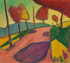 Kunst Tapete aus dem Expressionismus - Alexej von Jawlensky, Murnauer Landschaft