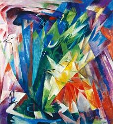 Kunst Tapete aus dem Expressionismus - Franz Marc, Vögel