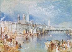 Kunst Tapete aus der Romantik - William Turner, Ansicht von Rouen, Fluss aufwärts