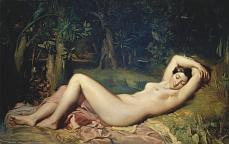 Kunst Tapete aus dem Klassizismus - Theodore Chasseriau, Schlafende Nymphe