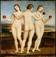 Kunst Tapete mit einem Werk von Raffaello Santi - Die drei Grazien