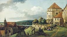 """Kunst Tapete aus der Romantik - Bernardo Bellotto """"Canaletto"""", Pirna von der Festung Sonnenstein aus gesehen"""