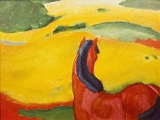 Kunst Tapete aus dem Expressionismus - Franz Marc, Pferd in der Landschaft