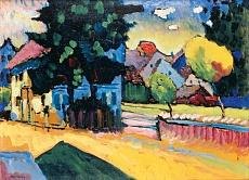Murnau - Studie zur Landschaft mit grünem Haus. 1908