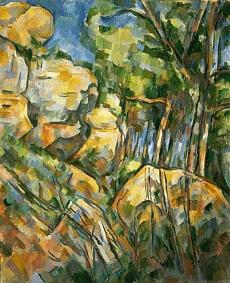 Felsenlandschaft in der Nähe der Grotte im Park des Château-Noir. Gegen 1904