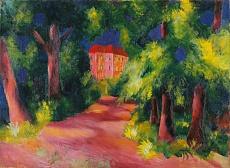 Kunst Tapete aus dem Expressionismus - August Macke, Rotes Haus am Park