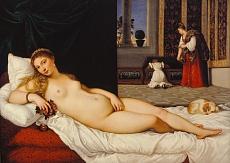 Kunst Tapete mit einem Werk von Tiziano Vecellio - Die Venus von Urbino