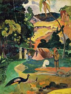 MATAMOE (Tod). Landschaft mit Pfauen. 1892