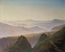 Kunst Tapete aus der Romantik - Caspar David Friedrich, Morgenstimmung in den Bergen