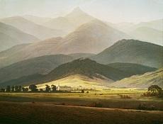 Kunst Tapete aus der Romantik - Caspar David Friedrich, Berglandschaft. Die Kleine Sturmhaube von Warmbrunn gesehen