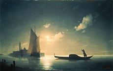 Kunst Tapete aus der Romantik - Konstantin Iwan Aiwassowskij, Gondoliere bei hereinbrechender Nacht in Venedig