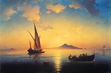 Kunst Tapete aus der Romantik - Konstantin Iwan Aiwassowskij , Abendstimmung über der Bucht von Neapel