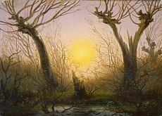 Kunst Tapete aus der Romantik -  Caspar David Friedrich, Waldlandschaft bei tiefstehender Sonne