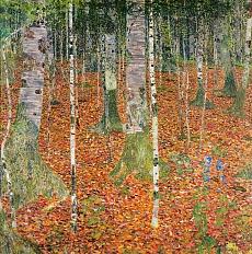 Kunst Tapete aus dem Jugendstil - Gustav Klimt, Birkenwald