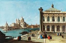 Die Einfahrt zum Canal Grande, Venedig mit der Piazzeta und der Kirche Santa Maria della Salute
