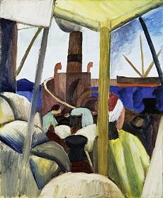Kunst Tapete aus dem Expressionismus - August Macke, Hafen in Tunis