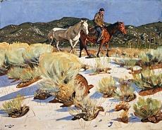 Kunst Tapete aus dem Expressionismus - Walter Ufer, Über den Arroyo