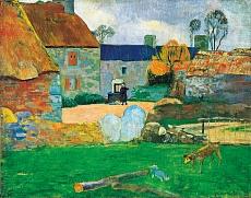 Das blaue Dach oder das Bauernhaus in Pouldu. 1890
