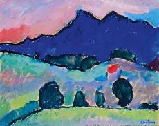 Kunst Tapete aus dem Expressionismus - Alexei von Jawlensky, Blauer Berg
