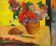 Blumen in einer Vase und eine Feldflasche. Nach 1891