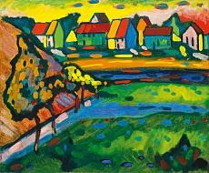 Bayerisches Dorf mit Feld. 1908