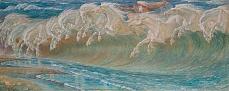 Kunst Tapete aus dem Jugendstil - Walter Crane, Die Rosse des Neptun