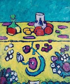 Kunst Tapete aus dem Expressionismus - Alexej von Jawlensky, Stillleben mit bunter Decke