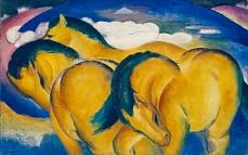 Kunst Tapete aus dem Expressionismus - Franz Marc, Die kleinen gelben Pferde