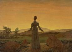 Kunst Tapete aus der Romantik - Caspar David Friedrich, Frau in der Morgensonne